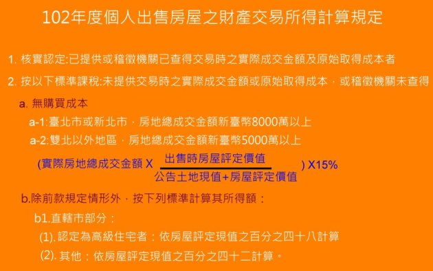 出售房屋財產交易所得標準 - 代書租屋網_插圖